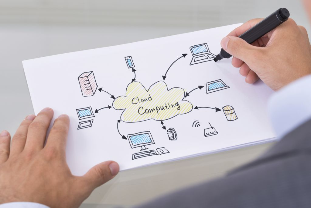 Cropped image of businessman drawing cloud computing diagram on paper at table in office